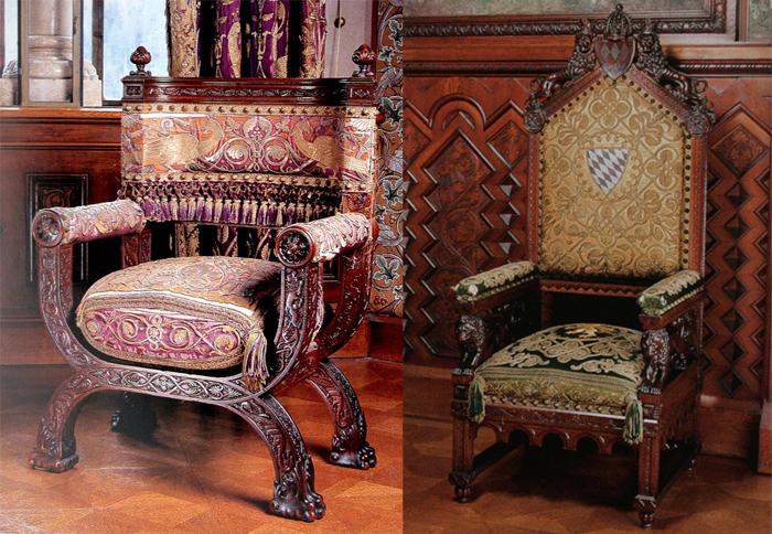 Роскошная мебель в замке Нойшванштайн.