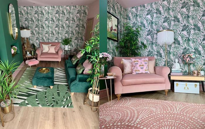 Розовый цвет и пальмы - стиль тропиков.
