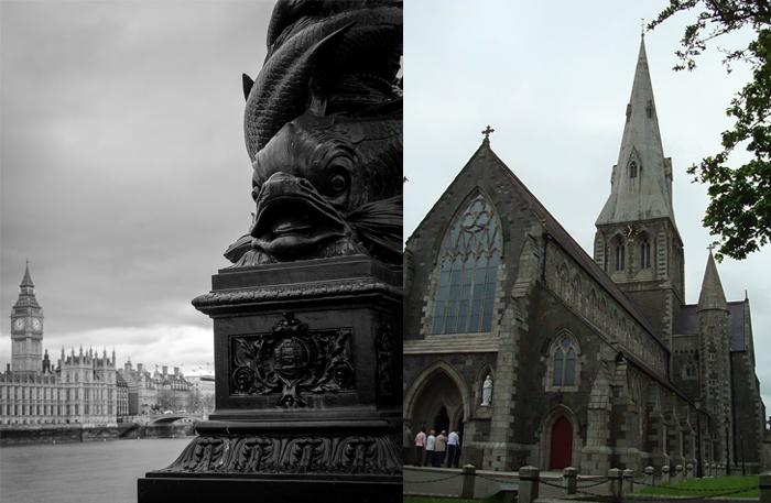 Вид на Вестминстерский дворец и церковь в неоготическом стиле.