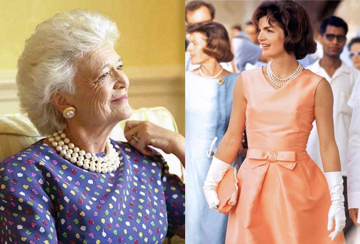 Справа - Джеки Кеннеди в ожерелье от Лейна.