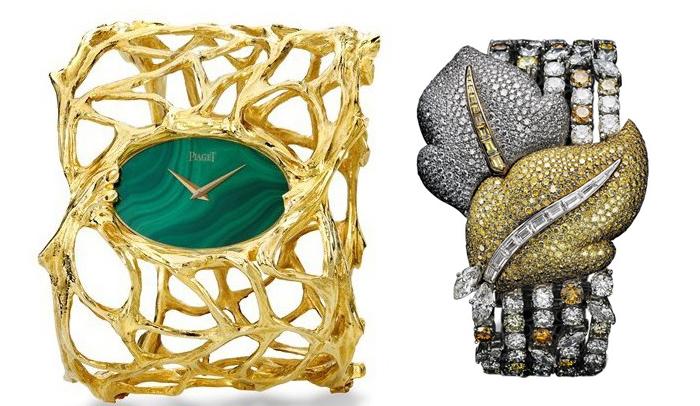 Часы с каменным циферблатом и браслет Piaget.