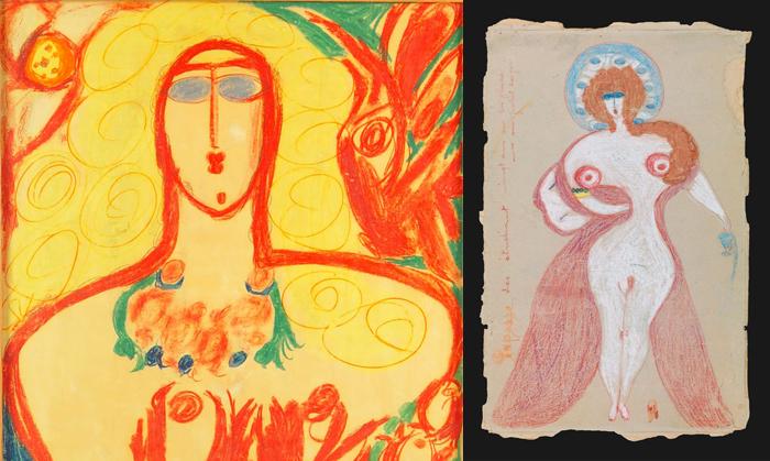 Эротическая и религиозная чувственность переплетаются в рисунках Алоизы Корбац.