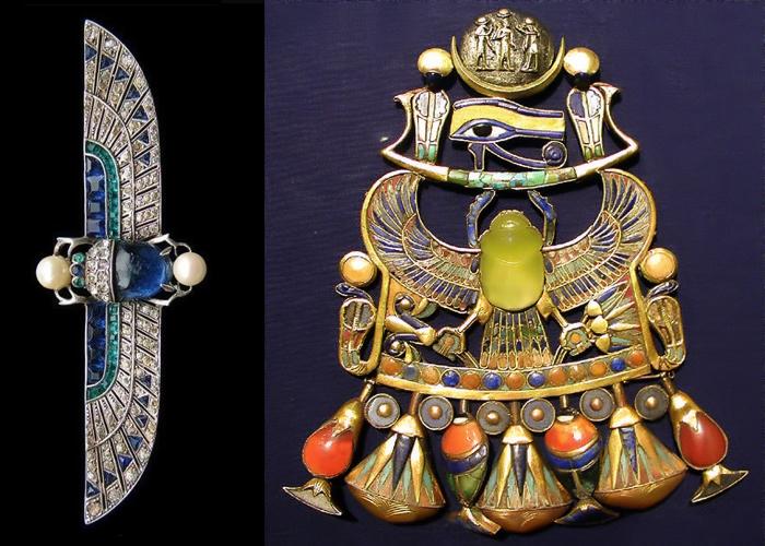 Украшение стиля ар деко и древнеегипетское украшение со скарабеем.