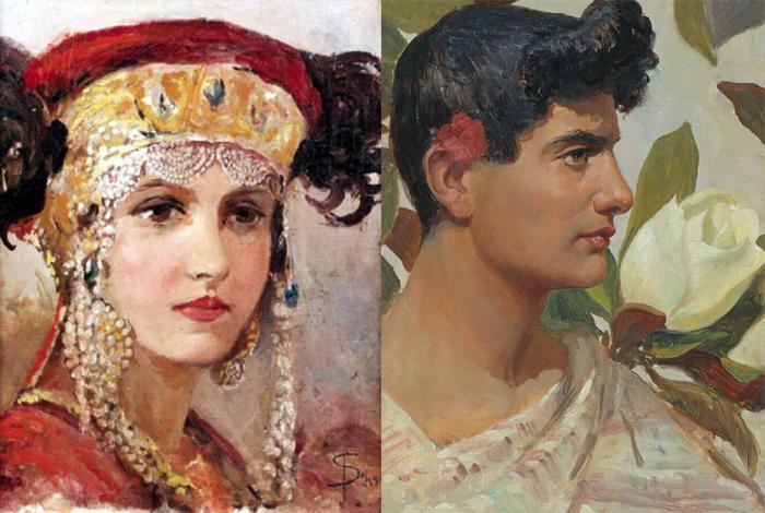 Девушка в русском уборе и молодой римлянин.