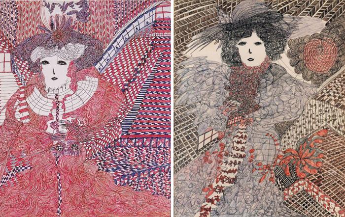 Часто Мадж рисовала странную девушку в роскошном платье.
