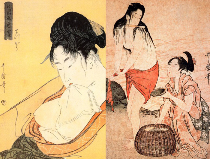 Зритель чувствует себя будто подглядывающим за героинями Утамаро.