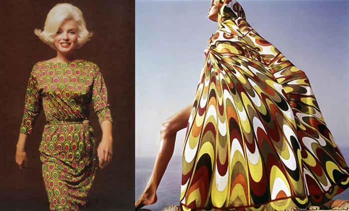 Слева - Мэрилин Монро в платье Пуччи.