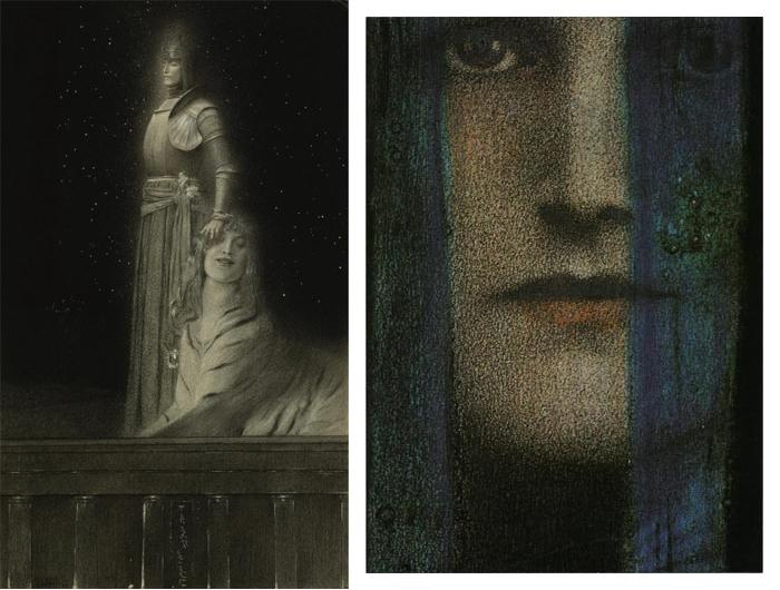 Слева - Эмиль Верхарн и Сфинкс. Положительная рецензия Верхарна поддержала начинающего художника.
