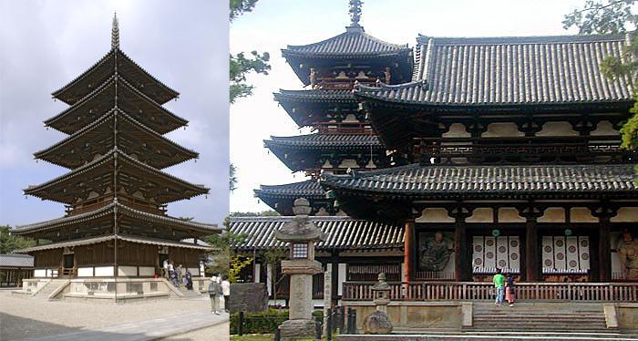 Пагода и храм в Хорю-дзи.