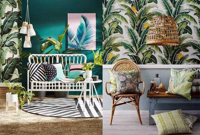 Плетеная мебель и тропические принты.