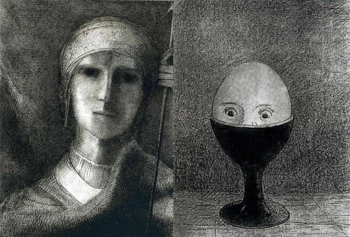 Яйцо на подставке символизирует клаустрофобию.