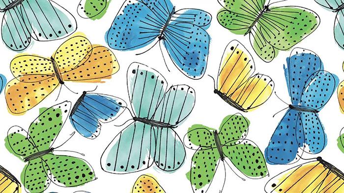 Текстиль с бабочками.