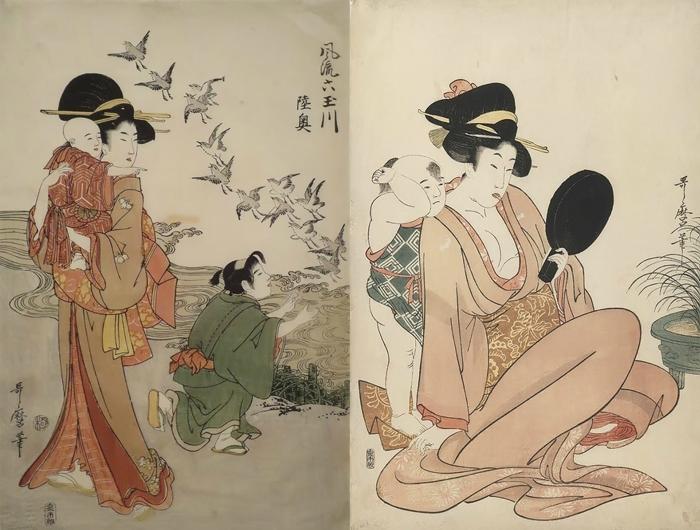 Гравюры Утамаро отличаются тонким колоритом.