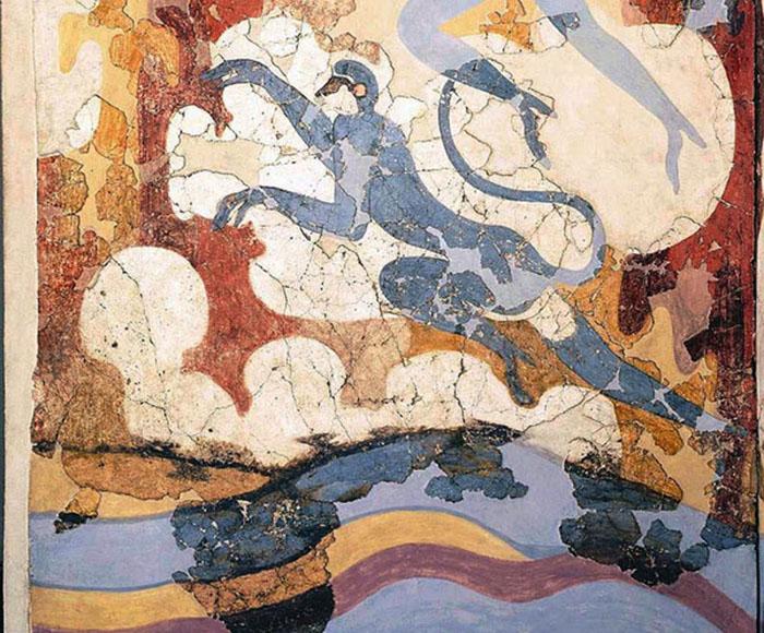 Фрагмент фрески с обезьянкой.