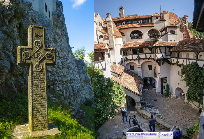 Крест возле замка и внутренний двор.