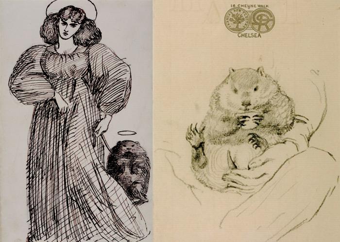 Джейн Моррис с вомбатом на рисунках Россетти.