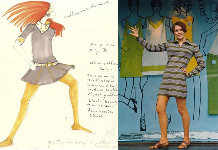 Эскиз платья и фотография модели в платье от Мэри Куант.