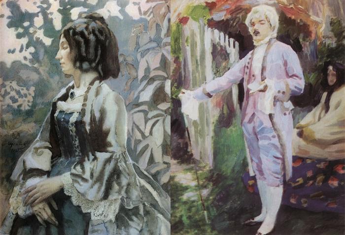 Почти все персонажи его картин одеты в старинные одежды.