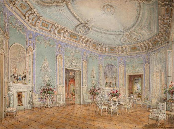 Гостиная в стиле Людовика XVI. Вилла (дача) княгини З.И. Юсуповой в Царском Селе.