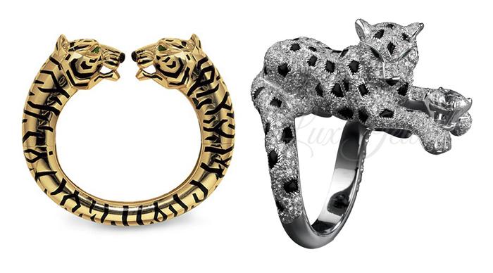 Слева - украшение для Барбары Хаттон с образом тигра.