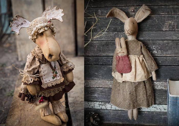 Куклы в чердачном стиле со сложным дизайном.