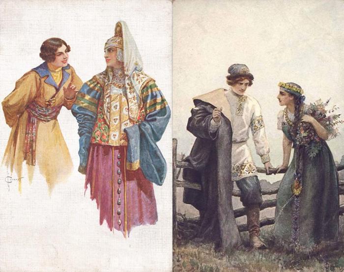 Очаровательные пары в древнерусских костюмах.