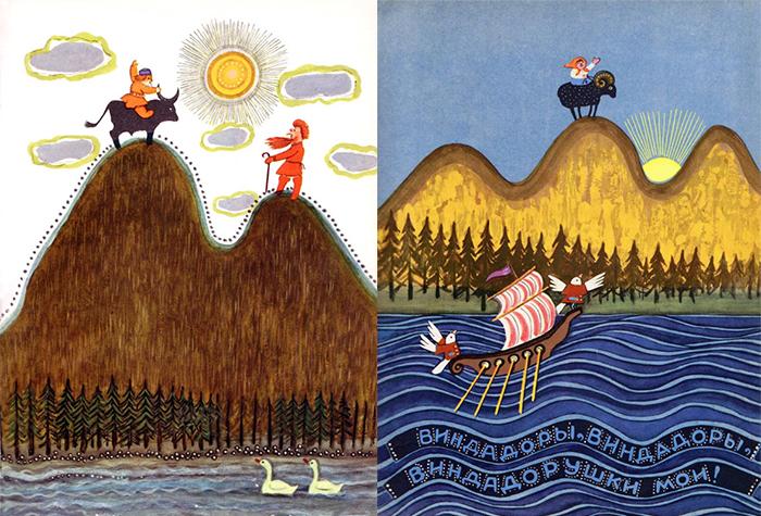Васнецов в студенческие годы увлекся изучением русского народного искусства.