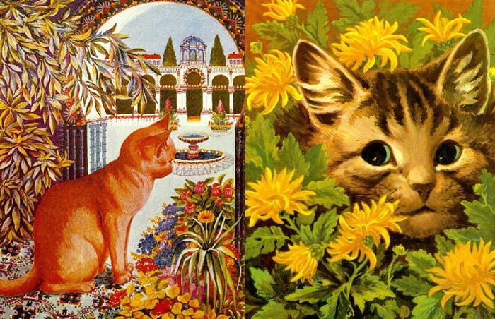 Ранние работы Уэйна еще не показывают кошек очеловеченными.