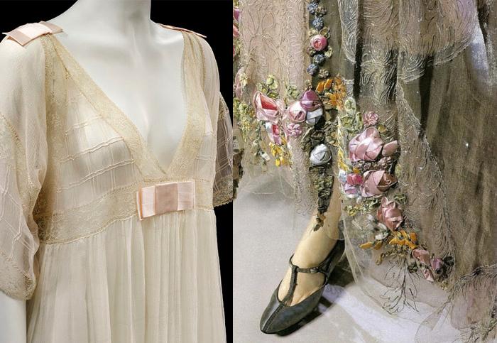 Фрагмент пеньюара и отделка платья от Люсиль.