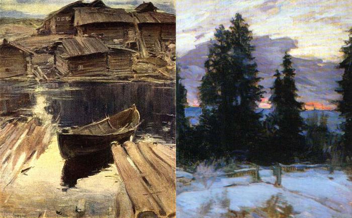 Северная деревня. Закат, зимний пейзаж.