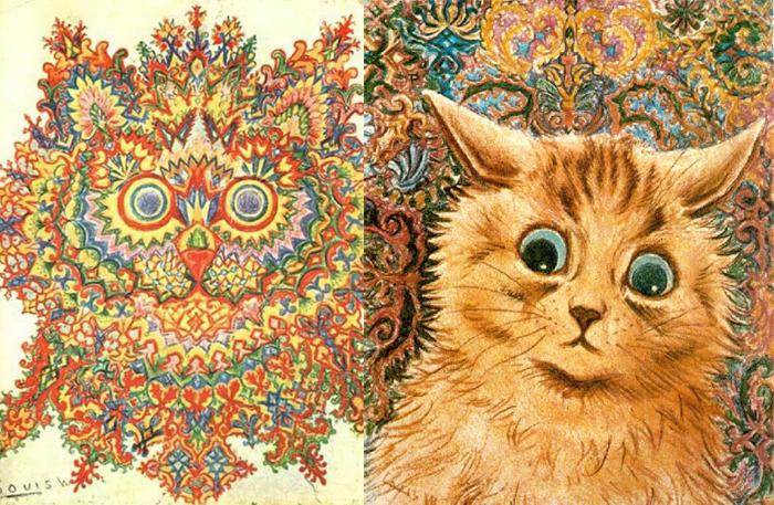 Фрактальный кот и кот с психоделическим фоном.