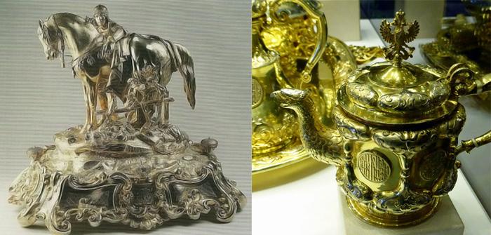 Серебряные изделия с сюжетными композициями.