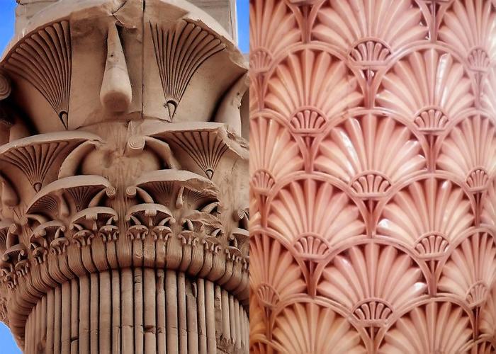 Египетская колонна и декор в стиле ар-деко.