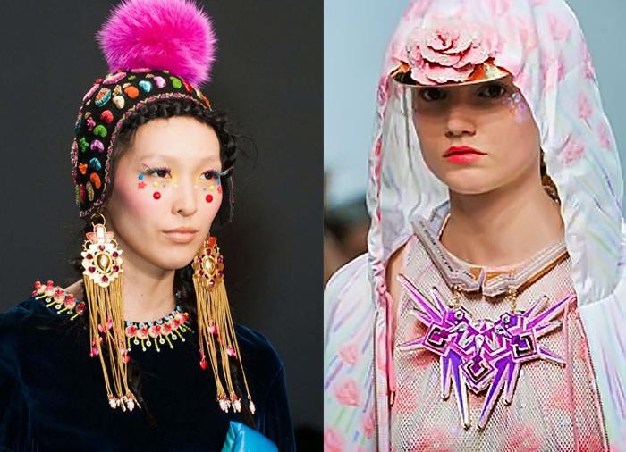Эксцентричный макияж и головные уборы.
