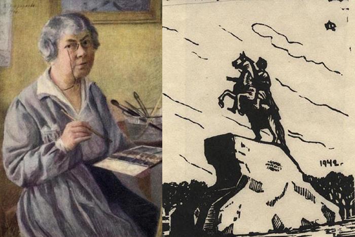 Автопортрет и одна из гравюр.