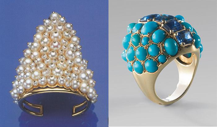 Кольца с жемчугом и бирюзой в этрусском стиле.