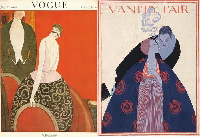 Иллюстрации для обложек Vogue - декоративный, символистский подход.