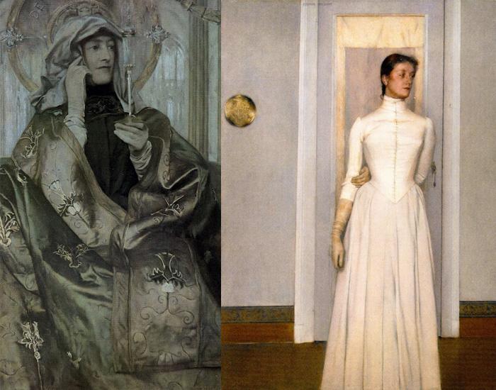 Справа - портрет Маргариты из храма-мастерской Кнопфа.