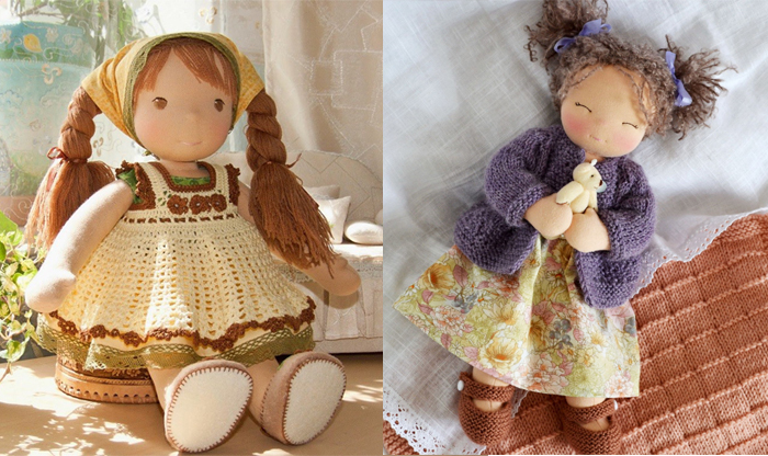 Вальдорфские куклы с осовремененным дизайном.
