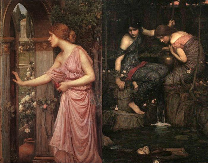 Психея открывает дверь в сад Эрота(слева), Нимфы находят голову Орфея (справа).