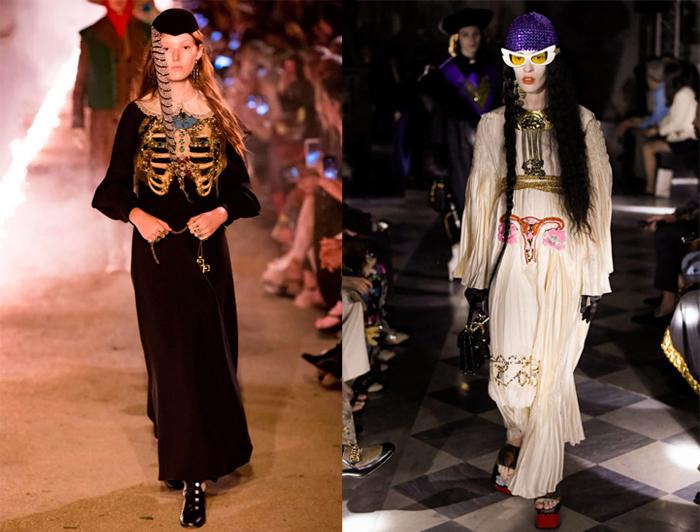 Справа - платье с вышитой маткой.