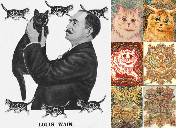 Луис Уэйн, справа - предполагаемые изменения его творчества.