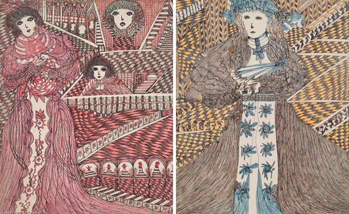 В рисунках Мадж постоянно повторяется мотив шахматной клетки.