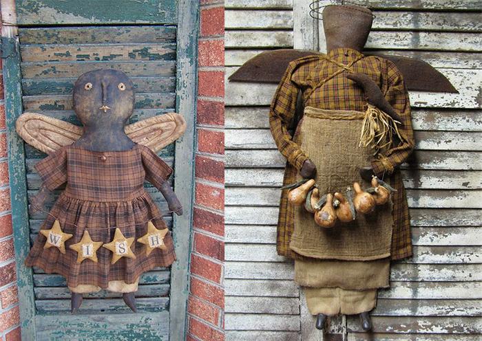 Чердачные куклы в примитивном стиле.