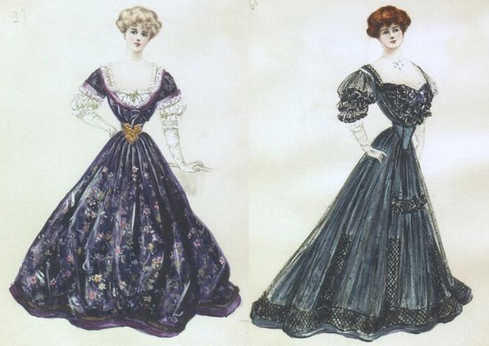 Эскизы платьев от Люсиль.