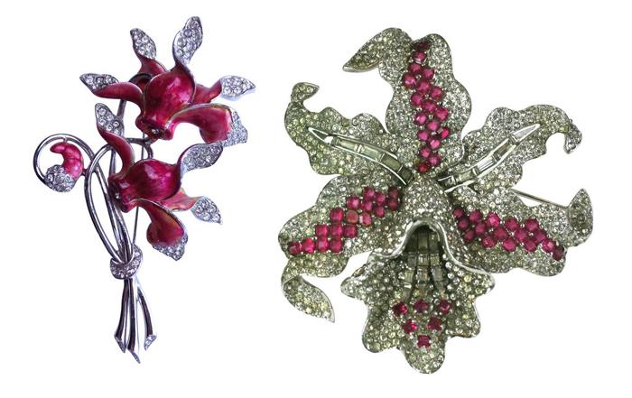 Броши Boucher в форме цветов.