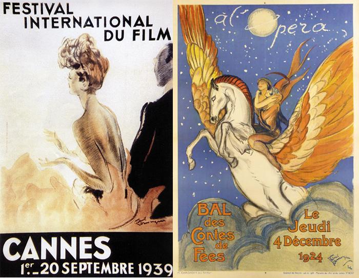 Слева - плакат первого Каннского кинофестиваля (не состоялся).