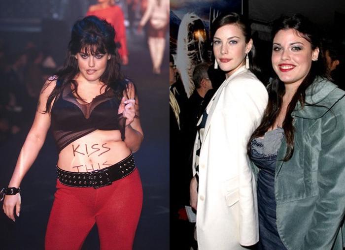 Миа Тайлер на подиуме и с сестрой - актрисой Лив Тайлер.