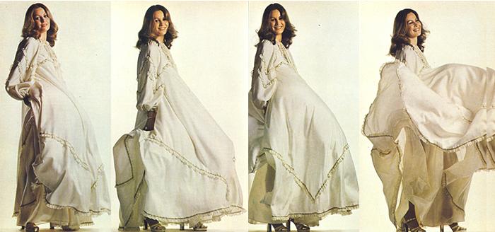 Свободные силуэты платьев Фратини стали сенсацией.