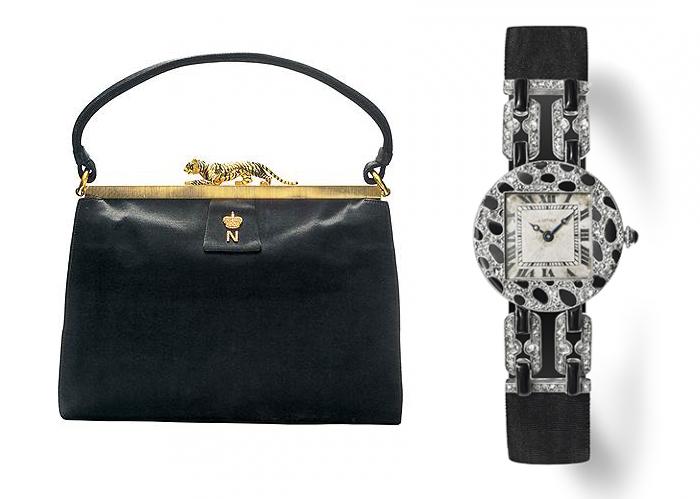 Сумочка с пантерой и часы с анималистичным орнаментом.